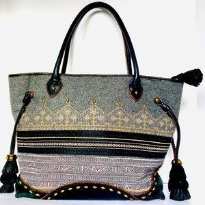 Slate Gray Isabella Fiore Large Tapestry Tote